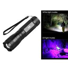 LED Taschenlampe mit UV Licht, 300lm Kaltweiß und 395nm UV-Strahler, Handlampe