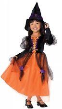Rubies Girls Pretty Wİtch Halloween Costume Orange&Black Dress Hat Medium 8-10