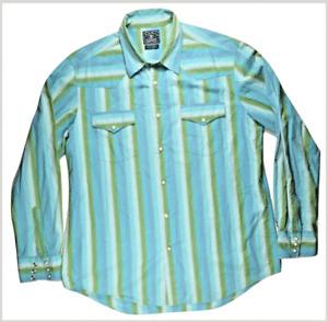 Lucky Brand Gene Montesano Mens Shirt XL Dungarees America Striped Western Snap