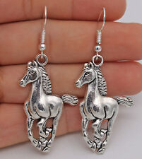 "925 Silver Plated Hook -2.3""  Fashion Steed Horse Women Party Retro Earrings #61"