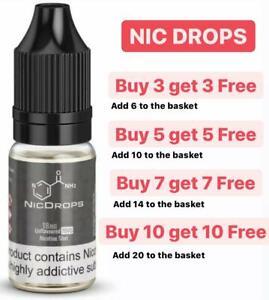 Nicotine Shots Nic Salts 10ml 18mg E Liquid Vape Juice NicDrops drops 70 100 VG