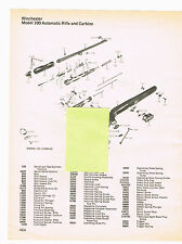 1982 AD WINCHESTER MODEL 100 AUTOMATIC RIFLE & CARBINE EXPLODED VIEW, PARTS LIST