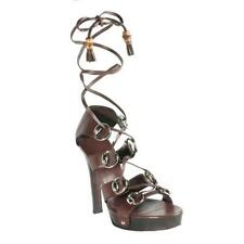 Gucci Brown Leather 'Ebony' Lace-Up Platform Sandals Size 40 10 US EUC