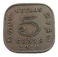 CEYLON 5 CENTS 1910  #kx 119
