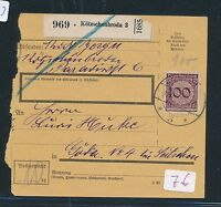 86593) DR Weimar Paketkarte 1931 ab Kötzschenbroda 3, EF 100PF