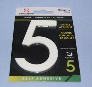 Number 5 Night Luminescent Numeral 90mm Glow Self Adhesive