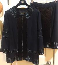 Naeem Khan Exquisite Black Wool Beaded Skirt Suit SZ 18