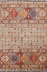 Vegetable Dye Geometric Super Kazak Oriental Area Rug Hand-Knotted Wool 3x5 ft