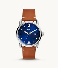 Fossil Mens Watch Brown Leather Strap Blue Dial FS5325