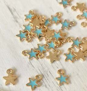 10 Tiny Turquoise Gold Enamel Small Star Charms Charm Beads, Jewellery Making,