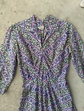 Vintage 40s Style 60s Trippy Wagonwheel Shirt waist Dress S
