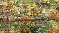 Timeless Treasures Deer in the forest Animal 100% cotton fabric by the yard