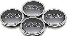 4 Pcs, Audi, Gray, Chrome Logo Center, Wheel Hub Cap, 70mm, A3, A4, A5, A6, S4