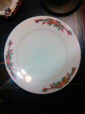 "Christmas POINSETTIA & RIBBONS 10.5"" Dinner Plate"