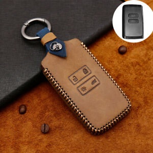 Leather Remote Key Case Cover Shell Fob For Renault Megane Koleos Kadjar Brown