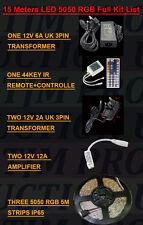 15m 5050rgb ip65 Luce a Led Striscia + Controller + Trasformatore + Amplificatore