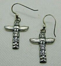 Pacific Northwest Coast Sterling Silver Earrings totem pole Mag Metal Arts Group