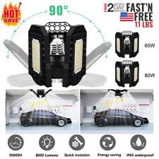 E27 LED Garage Light Bulb Deformable Ceiling Fixture Lights Workshop Lamp 60/80W