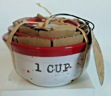 Peppermint & Pine Set Of 4 Stackable Ceramic Measuring Cups Christmas Gift