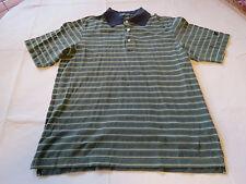 Lyle & Scott Scotland Mens green navy striped polo cotton s/s shirt EUC @