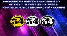 vintage motocross number plates Sticker Ovals YOUR # YOUR NAME C42617
