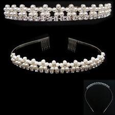 serre tête Diadème Mariage Mariée FLEURS - cristal blanc / perles blanc cassé