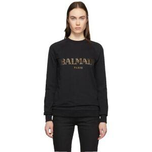 Balmain Black And Gold Logo Print Sweater - Size S