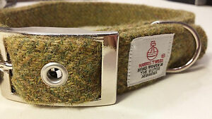Dog Collar Olive Green Harris Tweed dog collar and lead set Various sizes