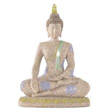 Buddha mit Scherpe Sandstein farbig Skulptur 21 cm Figur Wellness Feng Shui