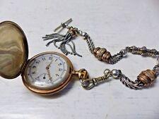 Reloj De Bolsillo Calidad Superior Elgin De Plata-Muy Elegante Estuche Con inusual Albert Raro