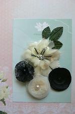 EBONY & CREAM Fabric Mixed Designs 5 Flowers 35-70mm across Green Tara