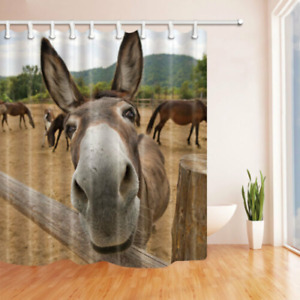 Cute Animal Fabric Shower Curtain Polyester Waterproof Bathroom Decor 12 Hooks