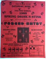 Dallas TX 1988 Metal Band Flyer FORCED ENTRY Spring Drink-N-Stink Advertisement