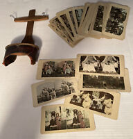 c1900s Wood & Leather Stereoscope WWI Era + 50 Views Kids Scenes People Places