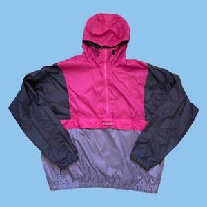 Vintage 90s Columbia 1/2 Zip Pullover Anorak Windbreaker Color Block Sz XL