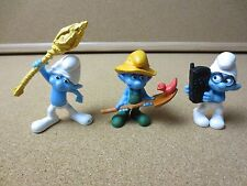 Lot of 3 Smurfs 2011 Peyo Farmer #8, Clumsy #15, Brainy #18 - 3 Inches (PG776)