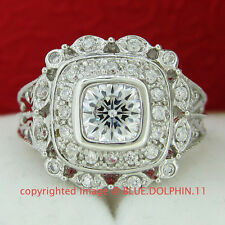 Antique Real Solid 9K White Gold Engagement Wedding Ring Dress Simulated Diamond