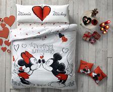 Valentine's Day Gift Mickey Minnie Love 100% Cotton Bed Quilt/Duvet Cover Set