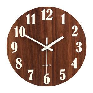 Luminous Wall Clock Silent Quartz Wooden Glow In The Dark Clock Art Home Decor