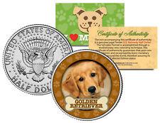 GOLDEN RETRIEVER Dog JFK Kennedy Half Dollar US Colorized Coin