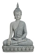 XL Buddha Figur in Grau 39 cm groß Feng Shui Buddhismus Asia Statue