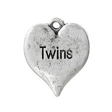 """8 Silver Oxidized TWINS Heart Stamped Charms, 3/4"""" chs1664"""