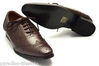 Mens Brogue Shoes Leather Black Tan Brown Oxford Rubber Sole Party New Size Boot