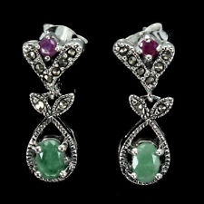 Unheated Oval Emerald 6x4mm Ruby Marcasite 925 Sterling Silver Earrings