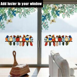 Multicolor Birds on a Wire High Stained PC Suncatcher Window Panel Pendant UK!!