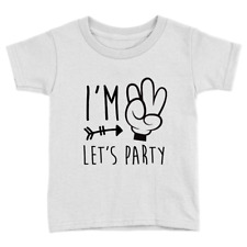 I'm Three Lets Party Kids T-Shirt 3rd Birthday Cool Funny Sweet Celebration