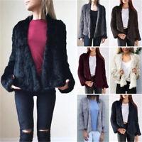 Fashion Women 100% Real Knitted Rabbit Fur Jacket Coat  Winter Warm Outerwear
