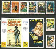 GUYANA Cine 1991 MNH Chaplin, Mae West, Orson Wells, Karloff, Stan Laurel..