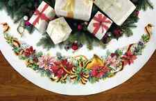 """Holiday Harmony Christmas Tree Skirt Counted Cross Stitch Kit 45"""" Round 11 Count"""