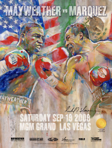 MAYWEATHER vs MARQUEZ Official Onsite fight poster by Richard T. Slone 18 X 24